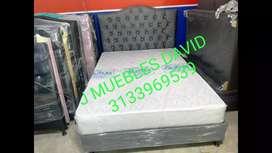 Espectacular Base cama con espaldar y colchón anti rasguño con envío gratis
