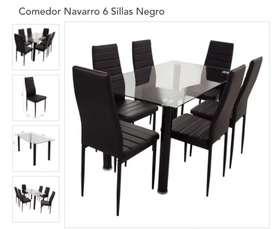 Remato Juego De Comedor De Vidrio 6 Sillas Negro Nuevo