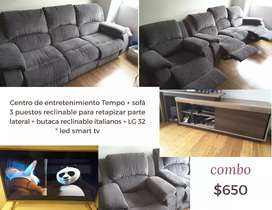 Centro de entretenimiento Tempo + sofás 3 reclinables + SmarTv Lg 32