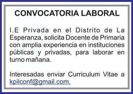 Se solicita docente de primaria con experiencia en instituciones públicas y privadas, para laborar en turno mañana.