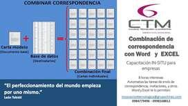 Capacitación Word y Excel combinación de correspondencia