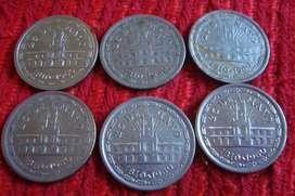 6 Monedas Argentinas De 1 Peso Antiguas