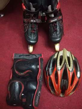 Kit + Patines cougar semi-profesional negro y rojo negociables