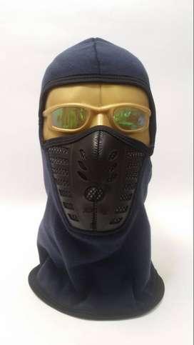Pasamontañas azul para motociclista, con filtro