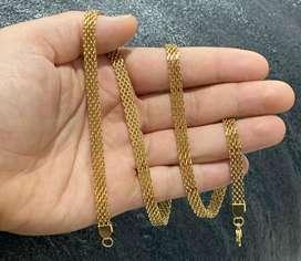 Cadena en oro laminado tejido chinezca