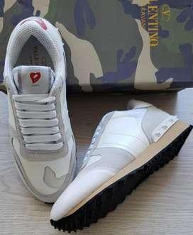 tenis zapatillas Valentino blancos dama
