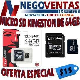 MICRO SD DE 64 GB , TARJETA DE MEMORIA DE 64 GB
