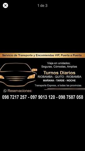 Transporte VIP y Traslado de Encomiendas RiobambaQuitoRiobamba