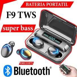 2 AUDIFONOS BLUETOOTH + BATERIA PORTATIL Auriculares F9 tws Mejores que i12