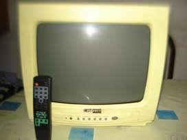 Tv Televisor 14 Crown Mustang Amarillo C/ctrl Orig Exc Imag.