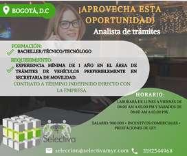 Analista de Tramites Vehiculares - Bogotá