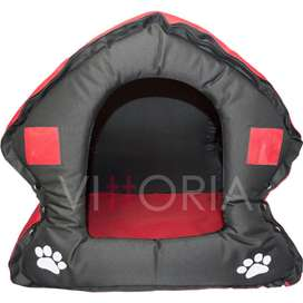 Casa Perro Plegable Davivienda Lona Resistente medidas 55 cm x 55 cm Rojo Huellas Negras Interior Acolchado