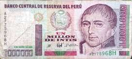 Hermoso y escaso billete Peruanos de 1.000.000 de intis