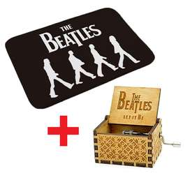 Combo Caja Musical Y Tapete The Beatles Regalo Fan Musica