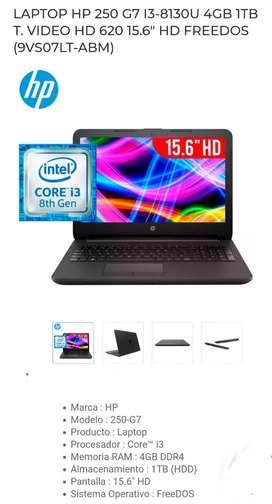 NOTEBOOK HP CI3 8130U 4GB DDR4 1TB SATA