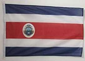 Bandera de Costa Rica 1.5m x 1m Escudo 2 Caras Lino Sermat Nueva