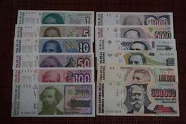 """Lote completo Billetes Argentinos serie """"Australes"""""""