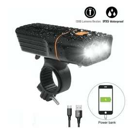 Linterna Bicicleta Usb Potente 1300 Lum Y Power Bank Carga