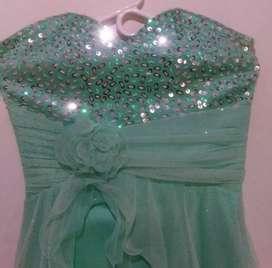 Vestido de coctel, verde menta, talla unica