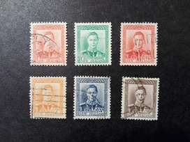 6 ESTAMPILLAS NUEVA ZELANDA, 1938, REY JORGE VI, USADAS