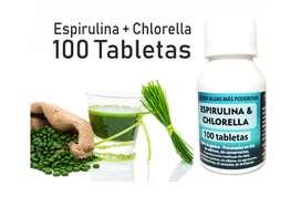 100 tabletas de Espirulina  Chlorella 100% Pura y Orgánica – 25 g