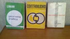 LIBROS DE GEOMETRÍA ANALÍTICA LEHMANN, CONTABILIDAD, TÉCNICA QUÍMICA DE LABORATORIO