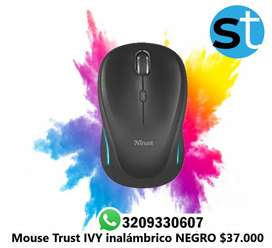 MOUSE TRUST IVY INALAMBRICO NEGROS