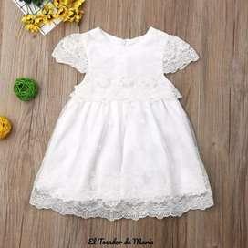 Vestido Blanco Mangas Perlas