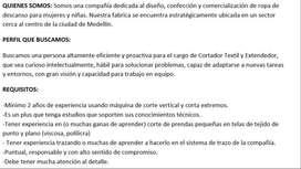 SE BUSCAR CORTADOR - EXTENDEDOR TEXTIL CONFECCIONES MEDELLIN