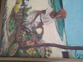 Vendo Cuadro Oleo Vendedora de Frutas