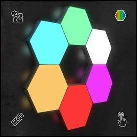 *Hexagonal led, juego x 6  multicolor