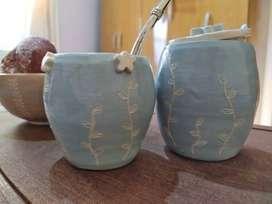 Mate y azucarera en ceramica
