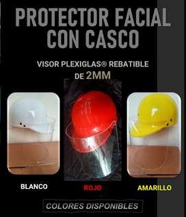 Protector careta facial con casco policarbonato acrílico