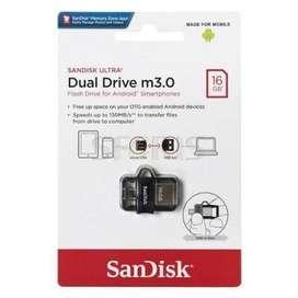 Memoria Flash USB SanDisk Ultra M3.0, 16GB, microUSB / USB 3.0, OTG.