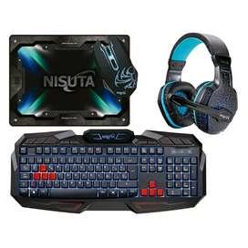 Combo kit nisuta teclado auris y mouse