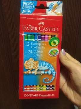 Lapices faber castell 12 ecolåpices con 24 colores