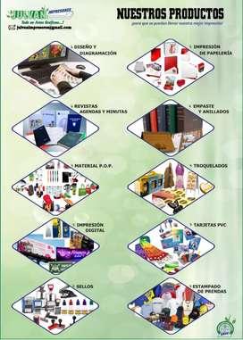 Calendarios, papelería comercial y publicitarios