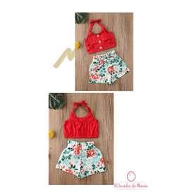 Conjunto Blusa Roja/Short Flores