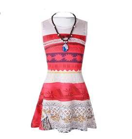 Vestido y collar Disfraz Moana tallas 4-6-8-10-12