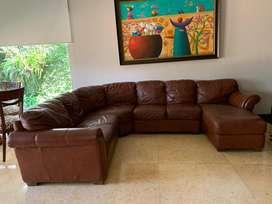 Sofa modular de cuero