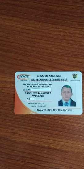 Ofresco servicio de técnico electricista en la ciudad de Ibagué con tarjeta profesional