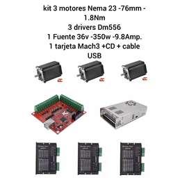 Kit Nema 23 Motores 1.8Nm - 76mm Longitud + 3 drivers Dm556 + 1 fuente 350w + Tarjeta Mach3