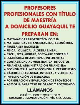 PROFESORES CON MAESTRÍA CLASES A DOMICILIO MATEMÁTICAS CONTABILIDAD ESTADÍSTICA FINANZAS FÍSICA QUÍMICA R STUDIO EXCEL