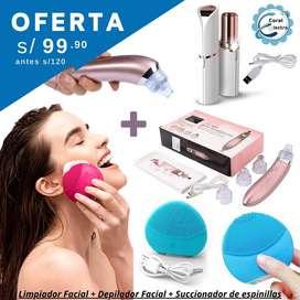Kit Limpieza Facial incluye succionador de puntos negros, limpiador forever y depilador facial , productos nuevos