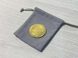 Bitcoin moneda conmemorativa de colección enchape en oro 18k