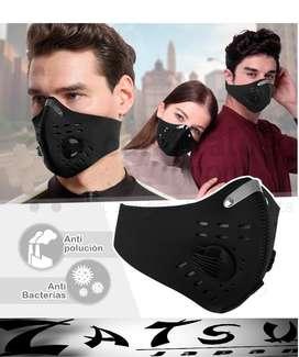 Mascara Antipolución Tapabocas Filtro Mascarilla Ajustable Color Negro.