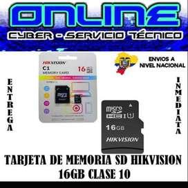 TARJETA DE MEMORIA SD HIKVISION 16GB CLASE 10 POR MAYOR $5,60 MENOR $7,00