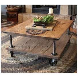 mesa de centro super hermosa rustica