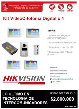 Kit Video Citofonia Digital x 4 Apartamentos/Casas