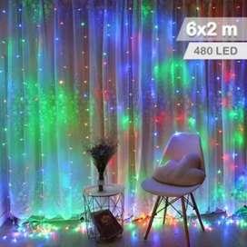 Luz Cascada 6X2 Metros 480 LED Luces Navidad Multicolor RF 6X2-480L